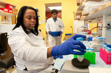 Research technicians Rachelle Brutus and Ronald Rahaman